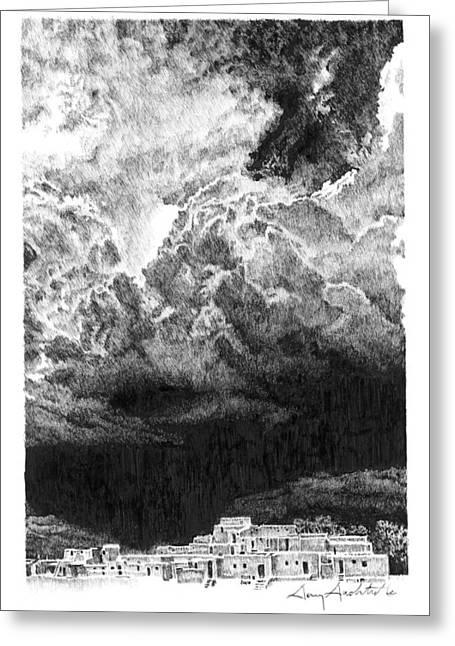 Taos Storm Greeting Card by Gary Gackstatter