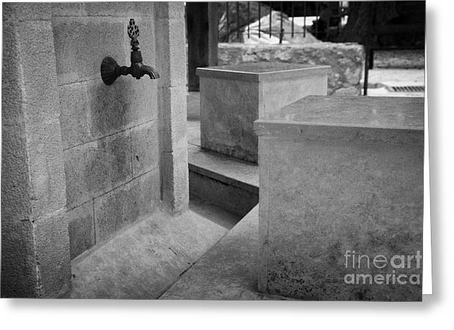 Tap And Seat At The Ablution Fountains Outside The Lala Mustafa Pasha Mos Greeting Card