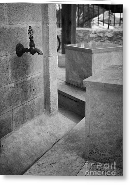 Tap And Seat At The Ablution Fountains Outside The Lala Mustafa Pasha Mosque In Famagusta Greeting Card