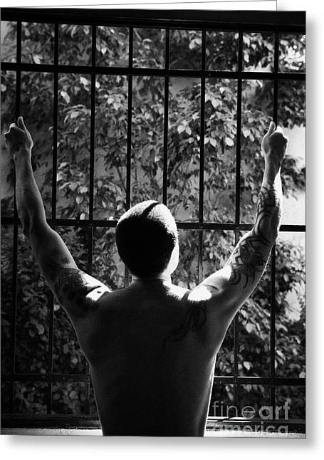 Tatooed Man Stretching Arms Out On Security Safety Cage Across Open Window Greeting Card by Joe Fox