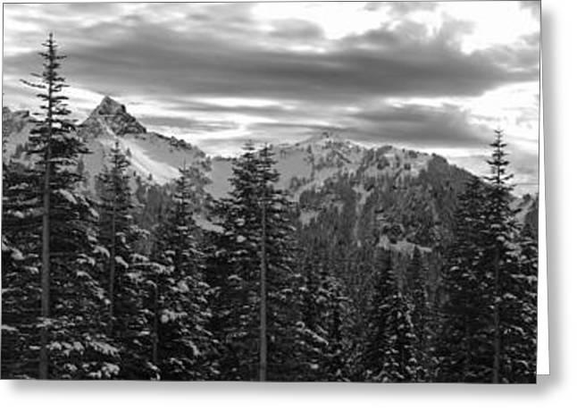 Tatoosh Mountain Range Panorama Greeting Card by Twenty Two North Photography