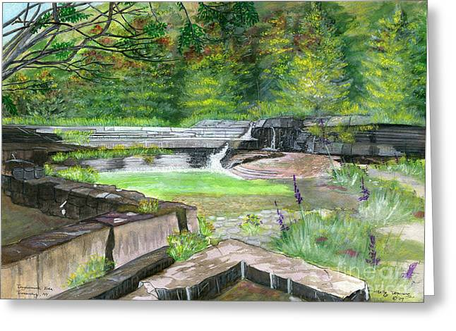 Greeting Card featuring the painting Taughannock Vista Ithaca New York by Melly Terpening