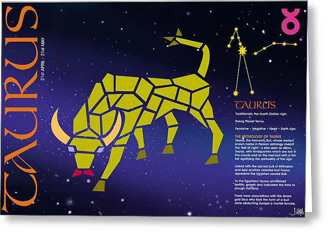 Taurus Zodiac Poster Greeting Card by John Hebb