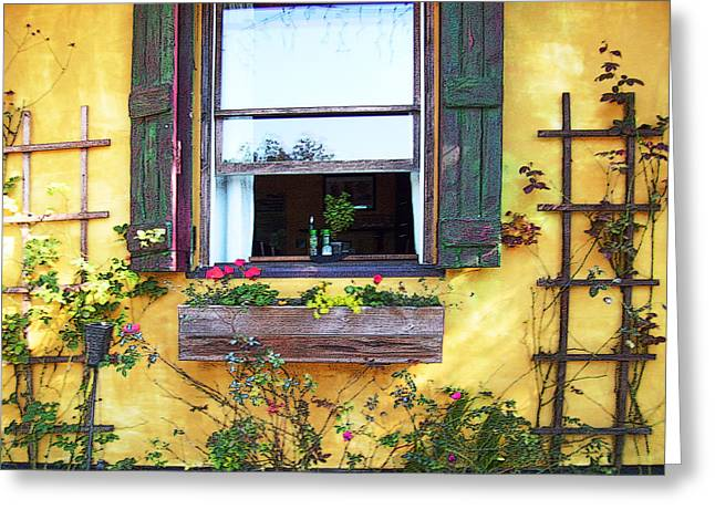 Greeting Card featuring the photograph Tavern Window by Ginny Schmidt