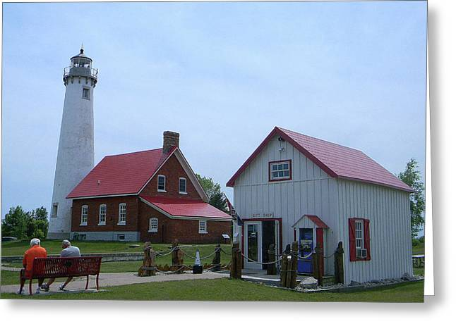 Tawas Point Lighthouse And Store Greeting Card