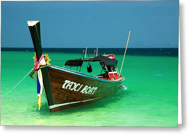 Taxi Boat Greeting Card by Adrian Evans