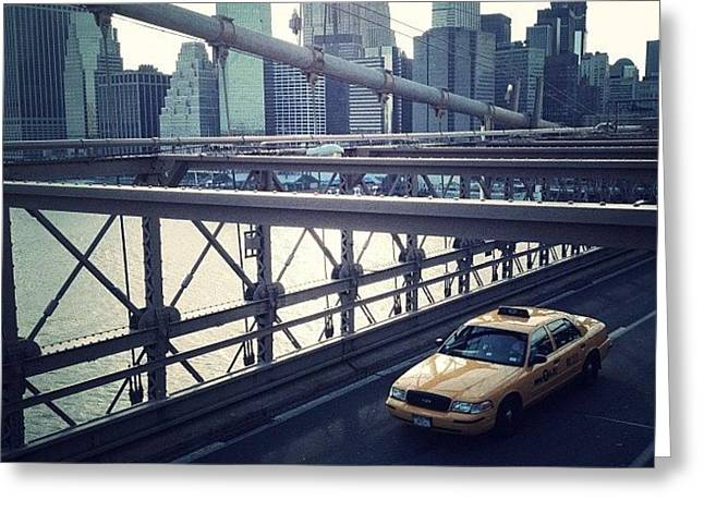 Taxi On Bridge Greeting Card
