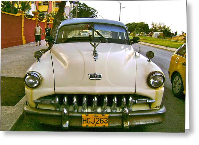 Taxi To President Hotel Greeting Card by Laurel Fredericks