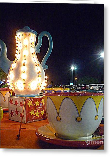 Greeting Card featuring the photograph Tea Pot And Cups Ride by Renee Trenholm