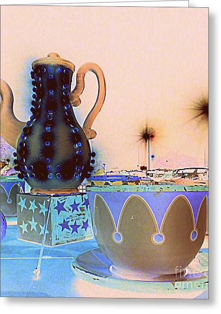 Greeting Card featuring the photograph Tea Pot And Cups Ride With Inverted Colors by Renee Trenholm