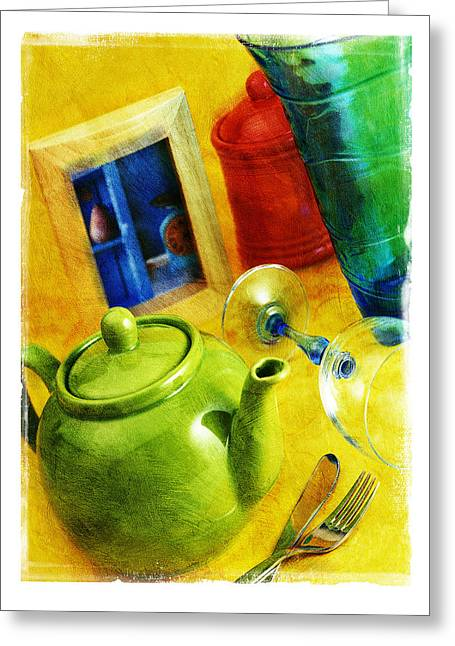 Tea Pot Greeting Card by Mauro Celotti