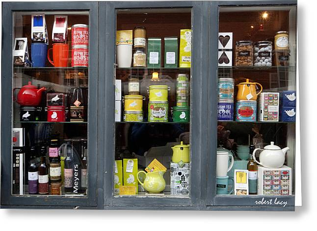Tea Shop Greeting Card by Robert Lacy