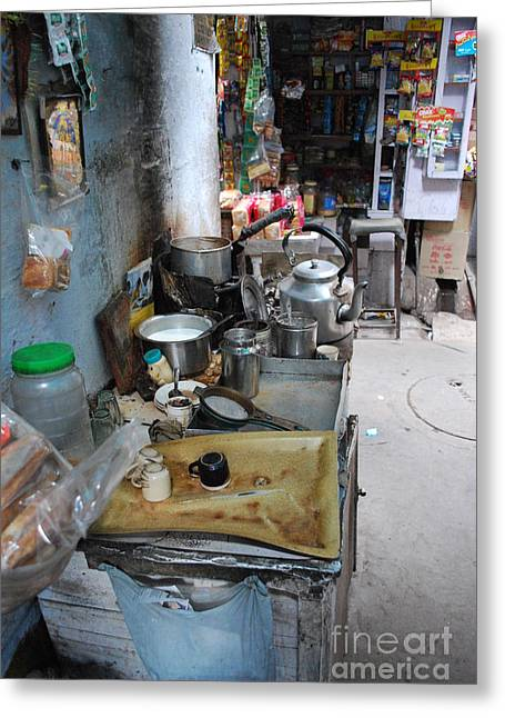 Tea Stall Greeting Card by Jen Bodendorfer