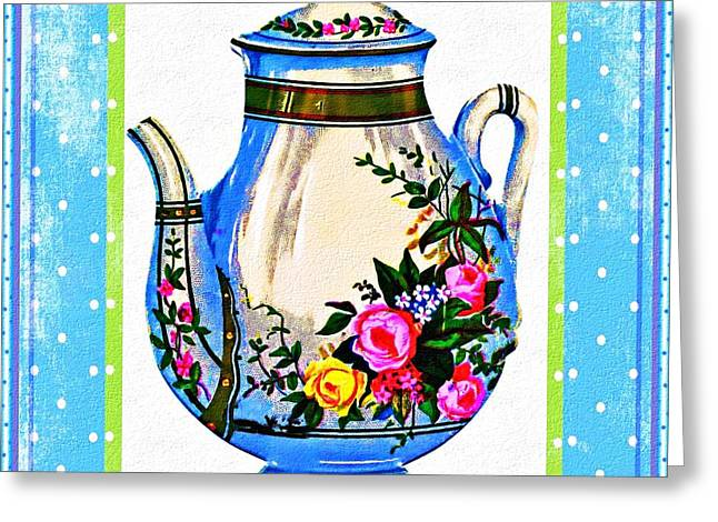 Greeting Card featuring the digital art Tea Time by Mary Morawska