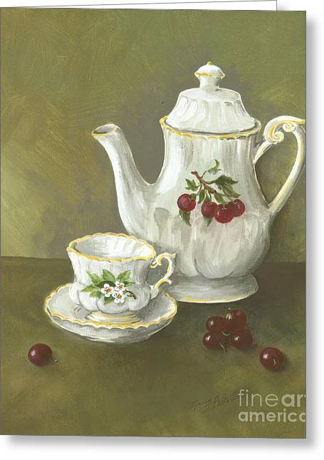 Greeting Card featuring the painting Tea With Cherries  by Nancy Patterson