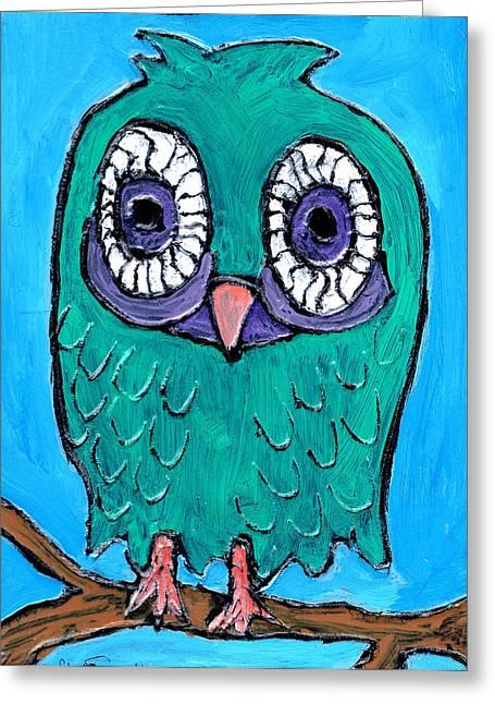 Teal Hooter 1 Greeting Card by Wayne Potrafka