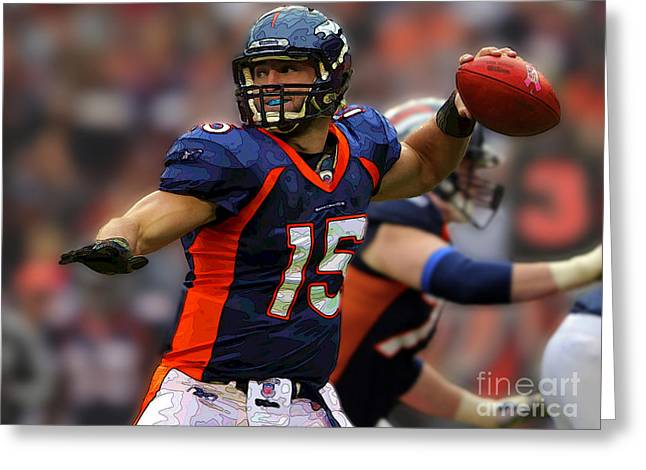 Tebow At Denver Broncos Greeting Card by Herb Paynter