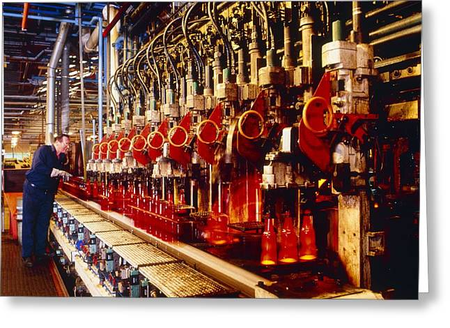 Technician Checks Production Line Of Glass Bottles Greeting Card by Victor De Schwanberg