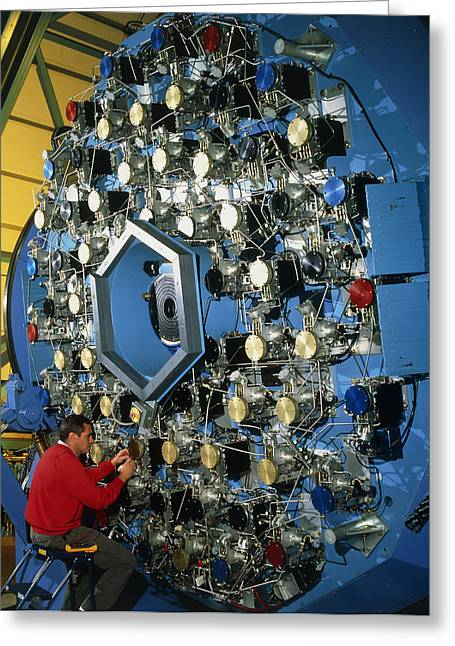 Technician With The Wiyn Telescope's Active Optics Greeting Card by David Parker