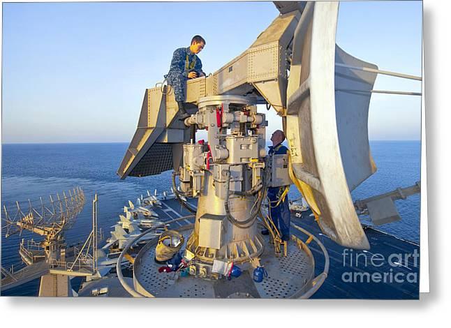 Technicians Perform Maintenance Greeting Card