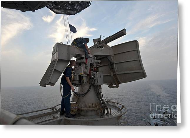 Technicians Performs Maintenance Greeting Card