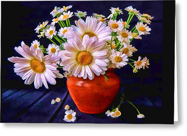Technicolor Daisies In An Orange Pot Greeting Card by Elaine Plesser