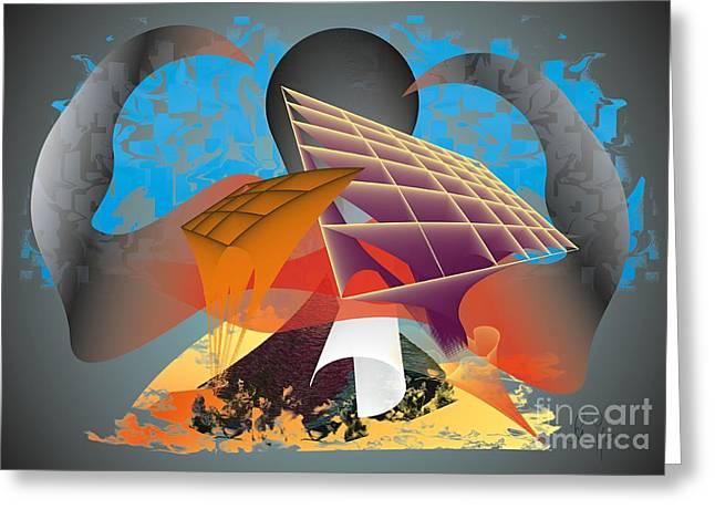 Greeting Card featuring the digital art Technocrat by Leo Symon