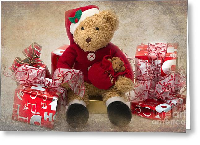 Teddy At Christmas Greeting Card by Louise Heusinkveld