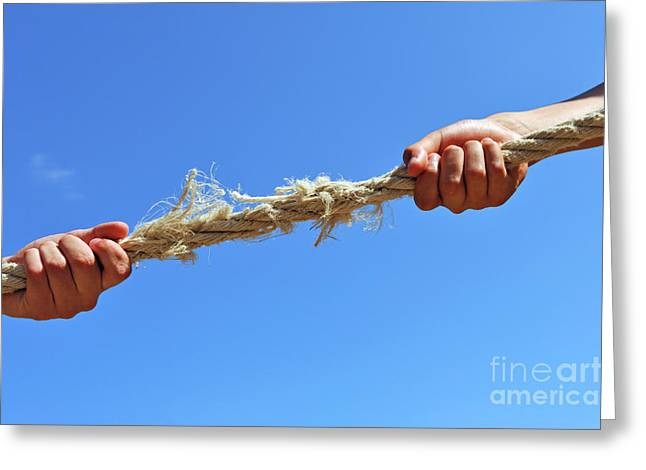 Teenagers Hands Playing Tug-of-war With Used Rope Greeting Card