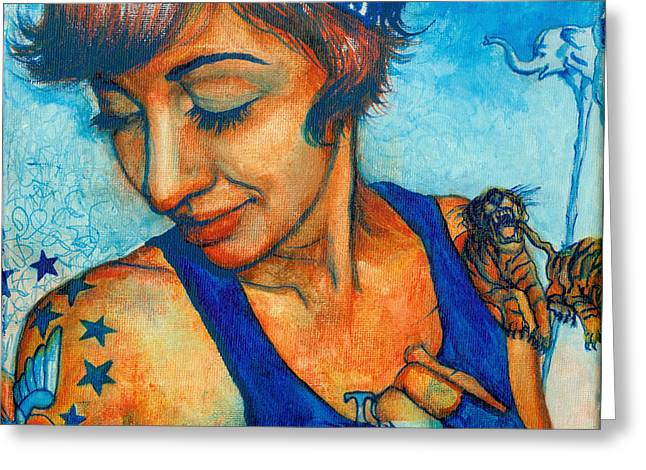 Tegan Tattoos Greeting Card by Emily Lounsbury