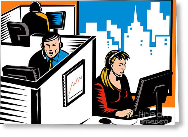 Telemarketer Office Worker Retro Greeting Card by Aloysius Patrimonio