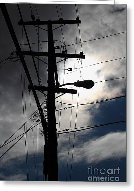 Telephone And Electric Wires And Pole In Abstract Silhouette . 7d13651 Greeting Card by Wingsdomain Art and Photography