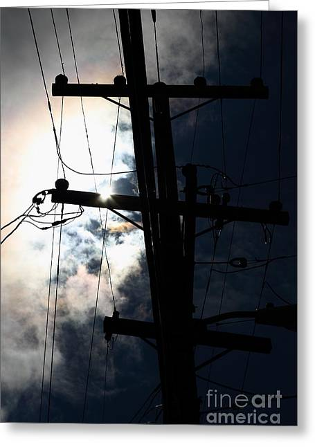 Telephone And Electric Wires And Pole In Silhouette . 7d13615 Greeting Card by Wingsdomain Art and Photography