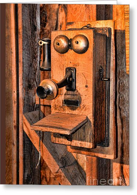 Telephone - Antique Hand Cranked Phone Greeting Card by Paul Ward