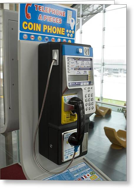 Telephone In Airport Lounge Greeting Card by Mark Williamson