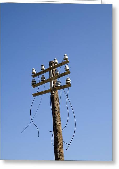 Telephone Pole And Wires Greeting Card by David Parker