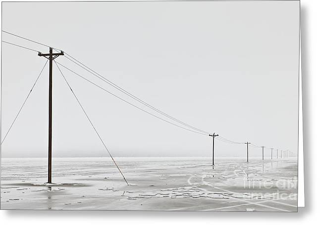 Telephone Poles In Bleak Winter Landscape Greeting Card by Dave & Les Jacobs