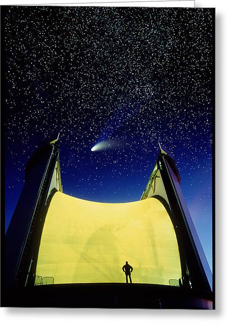 Telescope & Comet Hale-bopp Greeting Card by David Nunuk