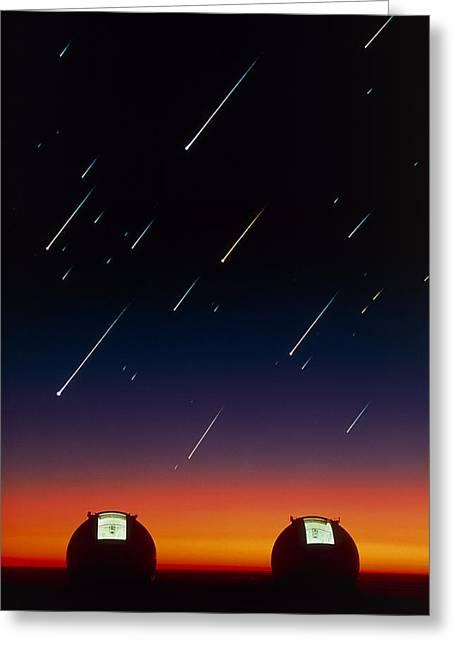 Telescope Domes On Mauna Kea With Meteors Greeting Card by David Nunuk