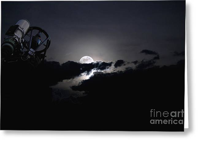 Telescope Pointed Out To The Night Sky Greeting Card by Roth Ritter