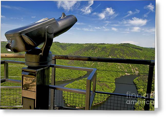 Telescope With View On Meander Of Queuille. Auvergne. France. Europe Greeting Card by Bernard Jaubert