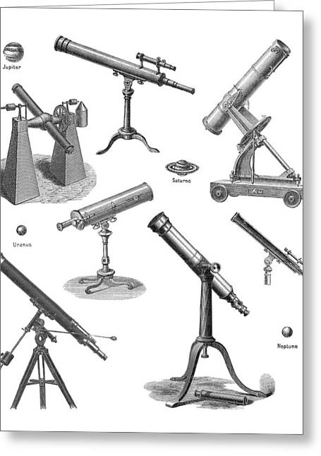 Telescopes, Historical Artwork Greeting Card