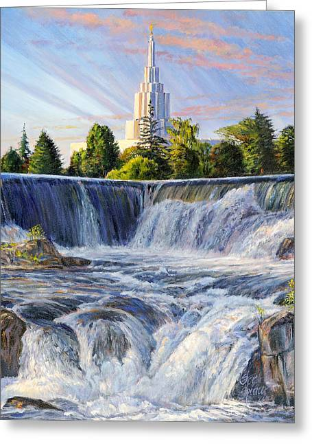 Temple And The Falls Greeting Card