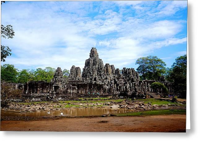 Temple Greeting Card by Arik S Mintorogo