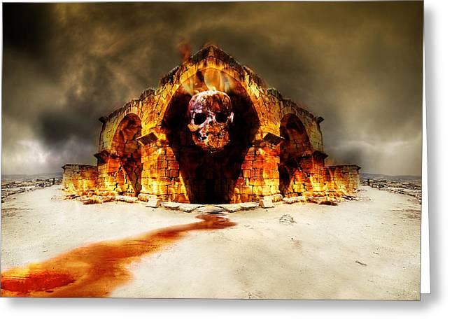 Temple Of Death Greeting Card by Jaroslaw Grudzinski