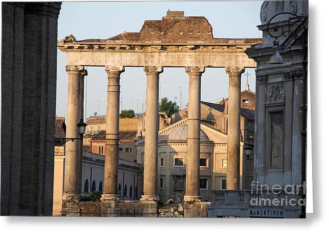 Temple Of Saturn In The Forum Romanum. Rome Greeting Card