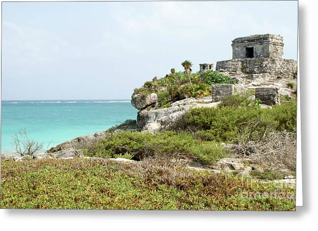 Greeting Card featuring the photograph Temple Of The Wind God Tulum Mexico by John  Mitchell