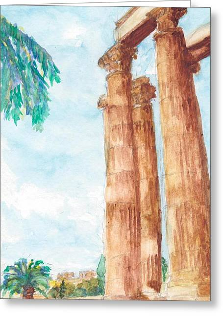 Temple Of Zeus In Athens Greece Greeting Card by Katherine Shemeld