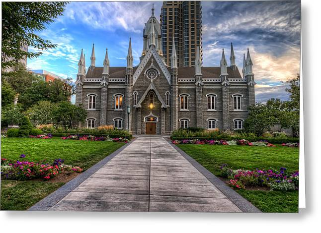 Temple Square Assembly Hall Greeting Card by Brad Granger