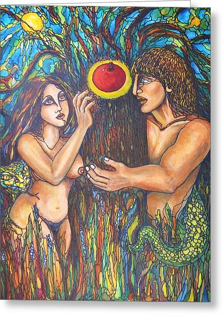 Temptation Of Adam And Eve  Greeting Card by Rae Chichilnitsky